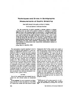 Techniques and Errors In Scintigraphic Measurements of Gastric ...