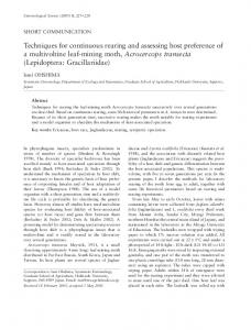 Techniques for continuous rearing and assessing host preference of a ...