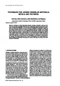 techniques for joining dissimilar materials: metals and polymers - IPME