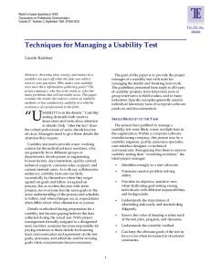 Techniques for Managing a Usability Test - CiteSeerX