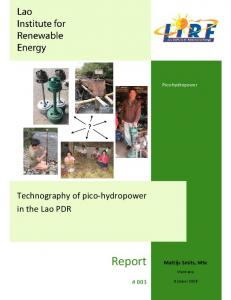 Technography of pico-hydropower in the Lao PDR (PDF Download ...