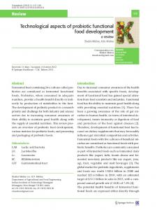 Technological aspects of probiotic functional food development ...