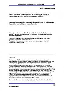 Technological development and stability study of ... - BVS Cuba