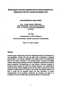 Technological innovation systems and the