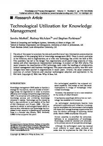 Technological utilization for knowledge ... - Wiley Online Library