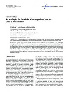Technologies for Beneficial Microorganisms Inocula Used as