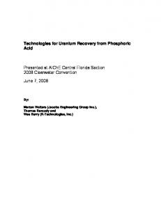 Technologies for Uranium Recovery from Phosphoric Acid