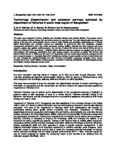 Technology dissemination and extension services ... - AgEcon Search