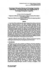 Technology Information Sharing and Technology Innovation ... - SERSC
