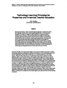 Technology Learning Principles for Preservice and In-service Teacher ...