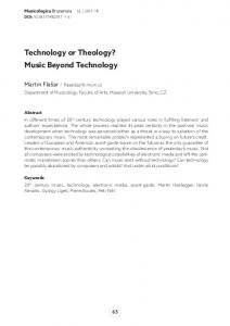 Technology or Theology? Music Beyond Technology