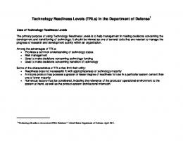 Technology Readiness Levels (TRLs) in the ...