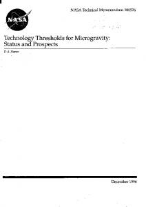 Technology Thresholds for Microgravity: Status and ... - NTRS - NASA