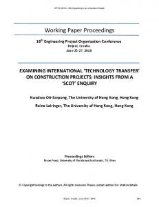 'technology transfer' on construction projects: insights ...
