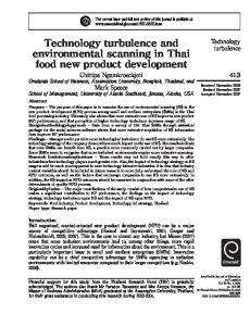 Technology turbulence and environmental scanning in Thai food new