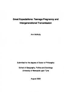 Teenage Pregnancy and Intergenerational Transmission