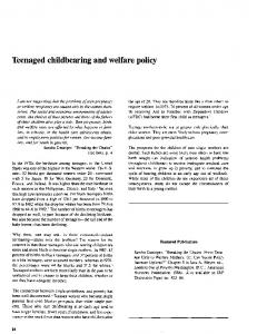 Teenaged childbearing and welfare policy