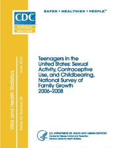 Teenagers in the United States - Centers for Disease Control and ...