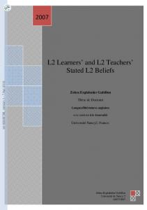 [tel-00808788, v1] L2 Learners' and L2 Teachers' Stated L2 Beliefs