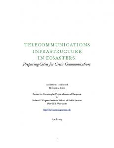 TELECOMMUNICATIONS INFRASTRUCTURE IN DISASTERS: