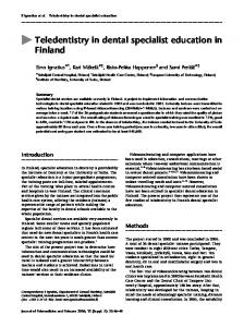 Teledentistry in dental specialist education in Finland