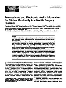 Telemedicine and Electronic Health Information for Clinical - CiteSeerX