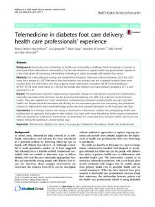 Telemedicine in diabetes foot care delivery: health care professionals ...