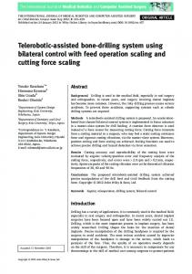 Teleroboticassisted bonedrilling system using ... - Wiley Online Library