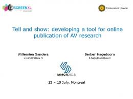Tell and show: developing a tool for online publication ...