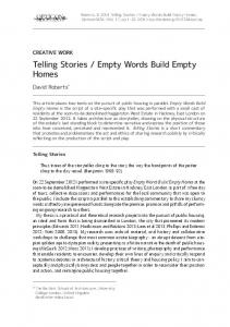 Telling Stories / Empty Words Build Empty Homes - UCL Discovery