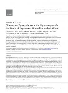 Telomerase Dysregulation in the Hippocampus of a Rat Model of ...