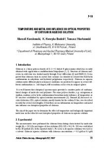 TEMPERATURE AND METAL IONS INFLUENCE ON OPTICAL ...