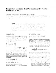 Temperature and strain rate dependence of the tensile yield stress of ...