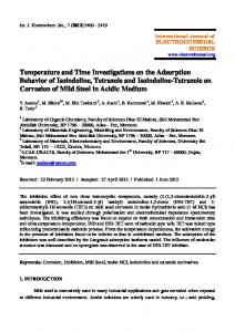 Temperature and Time Investigations on the Adsorption Behavior of ...