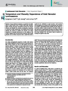 Temperature and Viscosity Dependence of Gold ... - Wiley Online Library