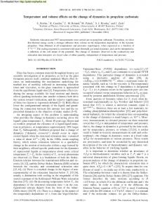 Temperature and volume effects on the change of ... - Polymer Physics