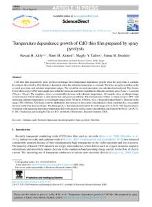 Temperature dependence growth of CdO thin film