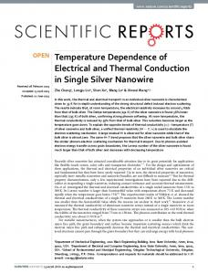 Temperature Dependence of Electrical and Thermal Conduction in ...