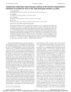 Temperature dependent spectroscopic studies of the electron ...