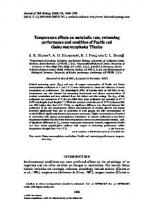 Temperature effects on metabolic rate, swimming