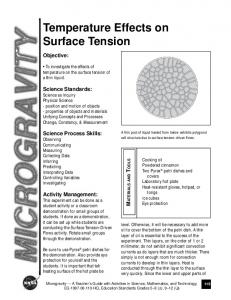 Temperature Effects on Surface Tension - NASA