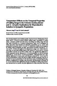 Temperature Effects on the Temporal Properties of Calling Songs in ...