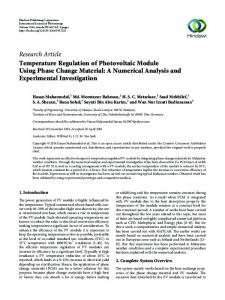 Temperature Regulation of Photovoltaic Module Using Phase Change ...