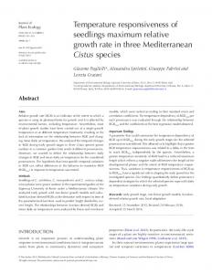 Temperature responsiveness of seedlings maximum relative growth ...