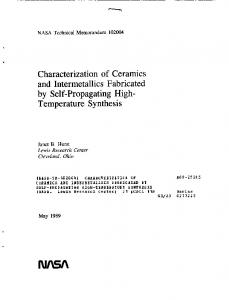 Temperature Synthesis - NASA Technical Reports Server (NTRS)