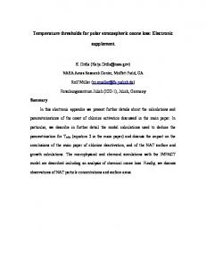 Temperature thresholds for polar stratospheric ozone loss: Electronic ...