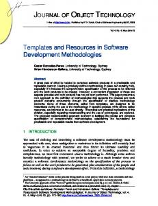 Templates and Resources in Software Development Methodologies