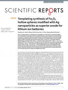 Templating synthesis of Fe2O3 hollow spheres