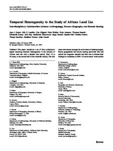 Temporal Heterogeneity in the Study of African Land ... - UO Geography