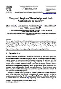 Temporal Logics of Knowledge and their Applications in ... - CiteSeerX